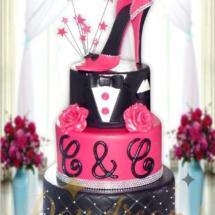 mariage-noir-et-fushia-cake-design